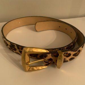 Elite cow hair safari print belt, size M